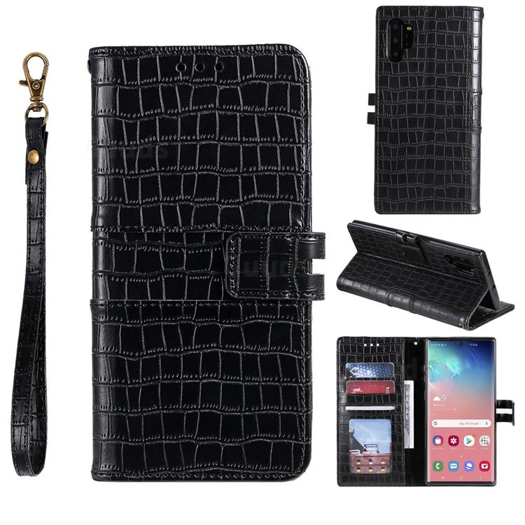 Luxury Crocodile Magnetic Leather Wallet Phone Case for Samsung Galaxy Note 10 Pro (6.75 inch) / Note 10+ - Black