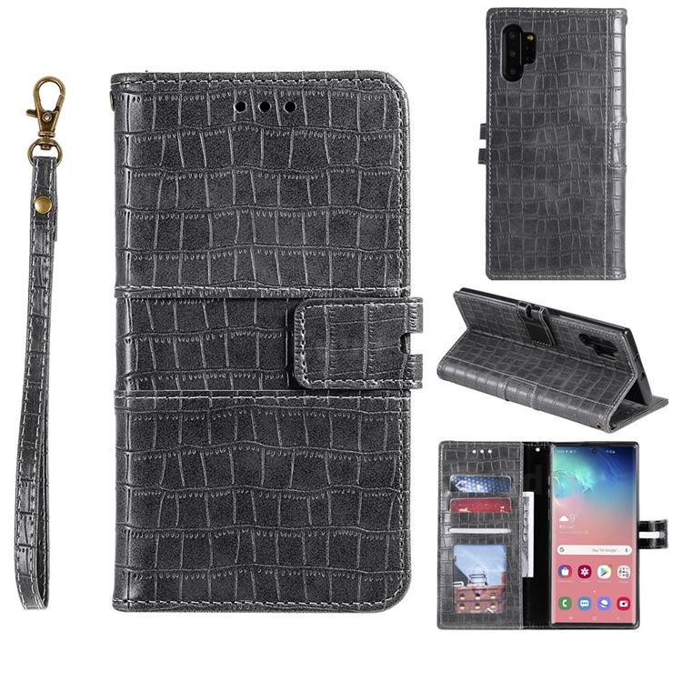 Luxury Crocodile Magnetic Leather Wallet Phone Case for Samsung Galaxy Note 10 Pro (6.75 inch) / Note 10+ - Gray