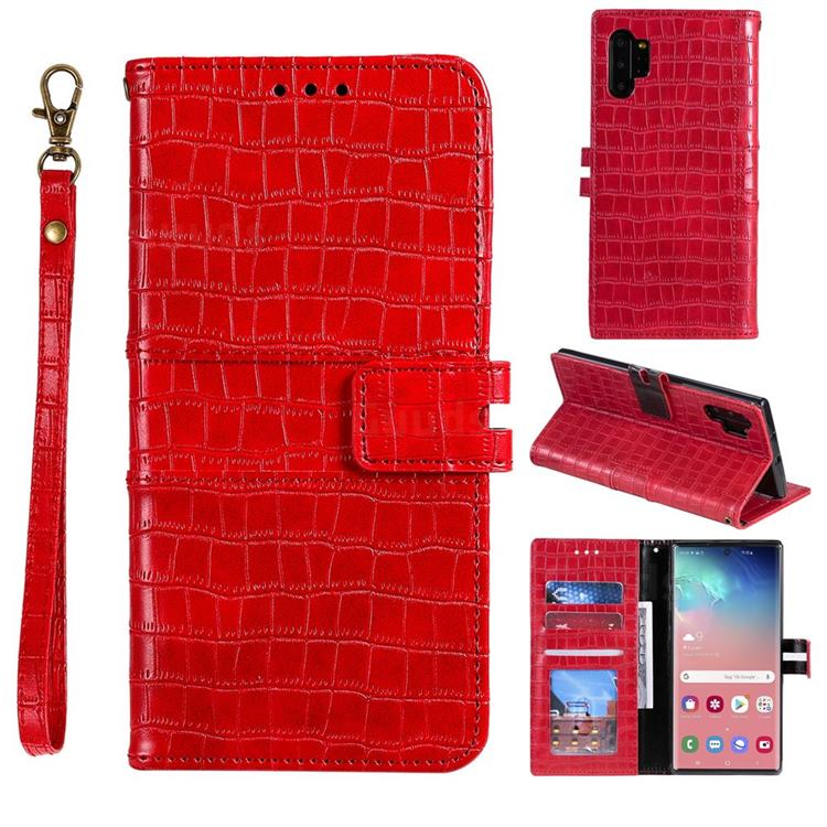 Luxury Crocodile Magnetic Leather Wallet Phone Case for Samsung Galaxy Note 10 Pro (6.75 inch) / Note 10+ - Red