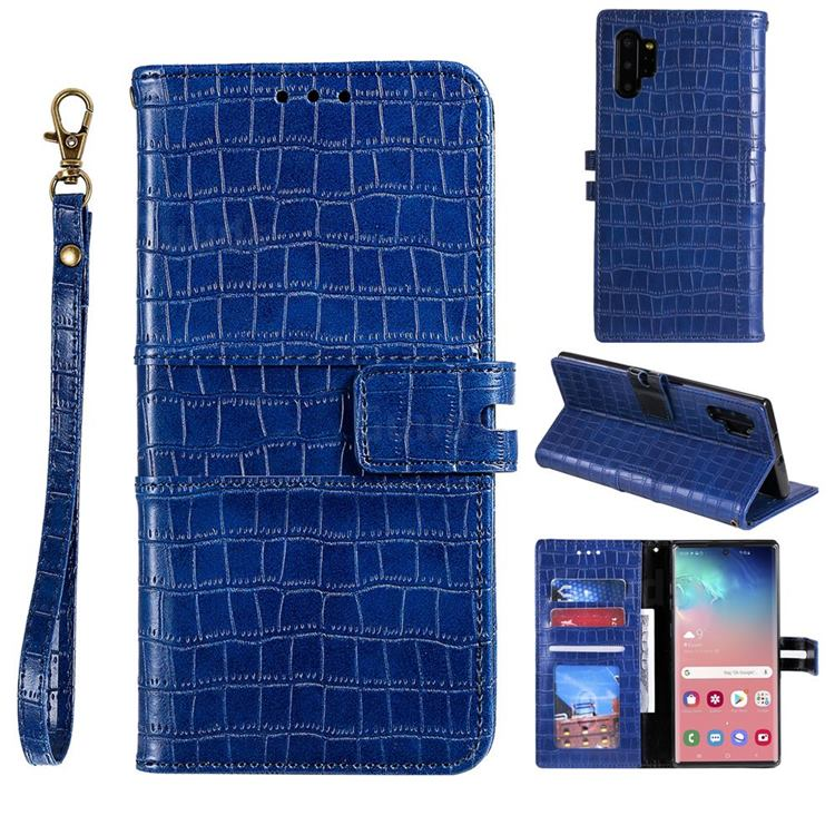 Luxury Crocodile Magnetic Leather Wallet Phone Case for Samsung Galaxy Note 10 Pro (6.75 inch) / Note 10+ - Blue