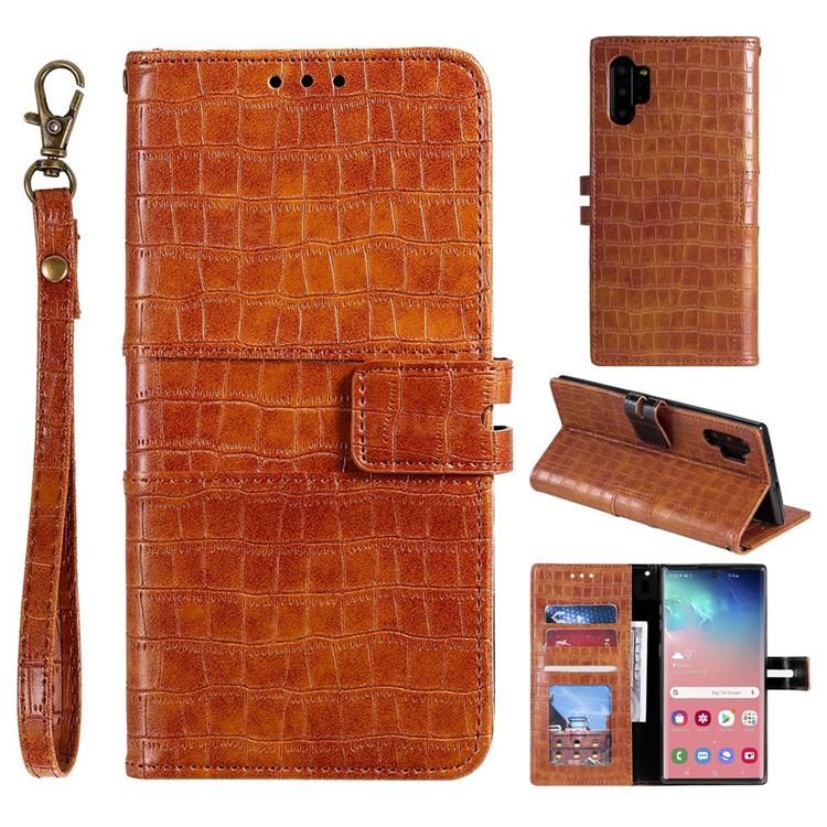 Luxury Crocodile Magnetic Leather Wallet Phone Case for Samsung Galaxy Note 10 Pro (6.75 inch) / Note 10+ - Brown