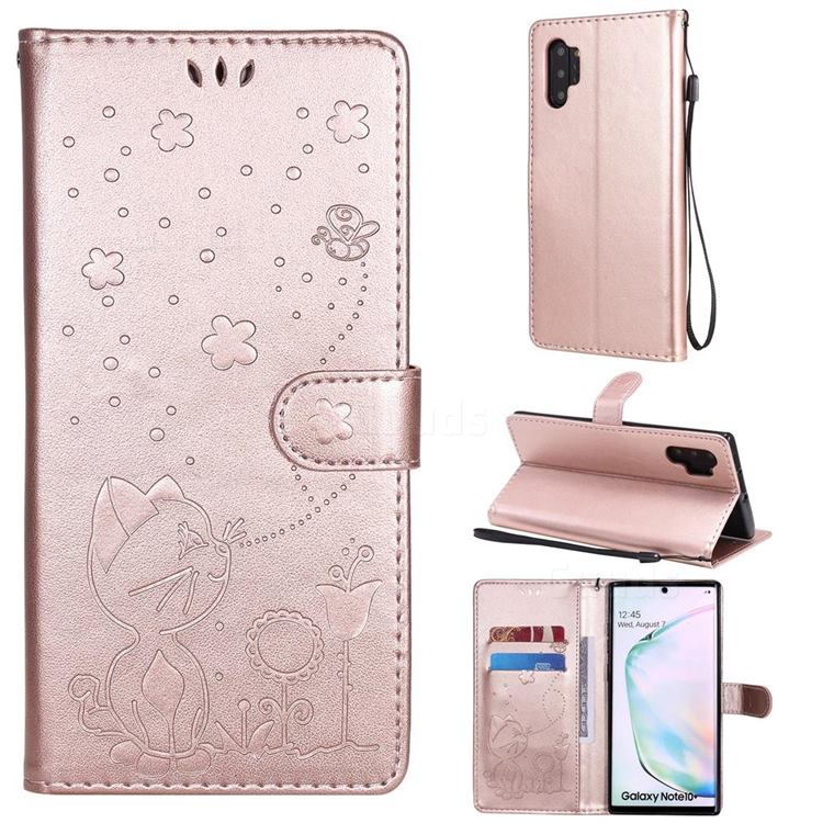 Embossing Bee and Cat Leather Wallet Case for Samsung Galaxy Note 10 Pro (6.75 inch) / Note 10+ - Rose Gold