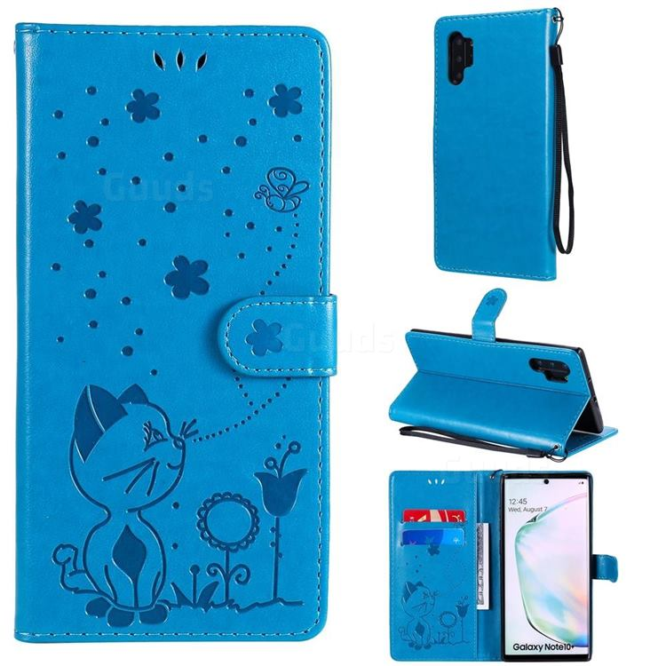 Embossing Bee and Cat Leather Wallet Case for Samsung Galaxy Note 10 Pro (6.75 inch) / Note 10+ - Blue