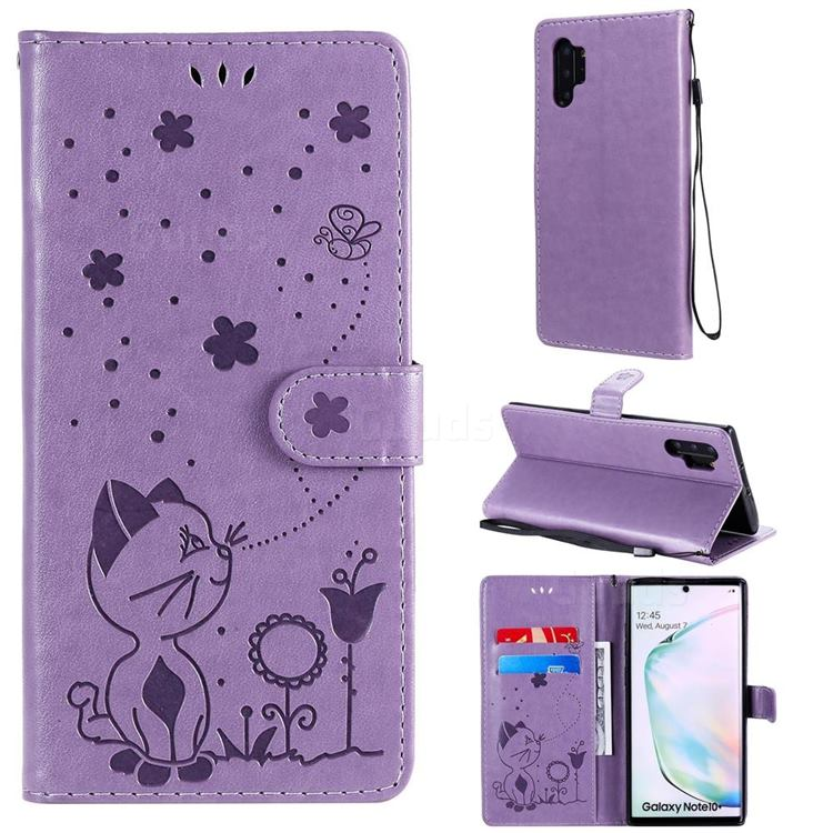 Embossing Bee and Cat Leather Wallet Case for Samsung Galaxy Note 10 Pro (6.75 inch) / Note 10+ - Purple