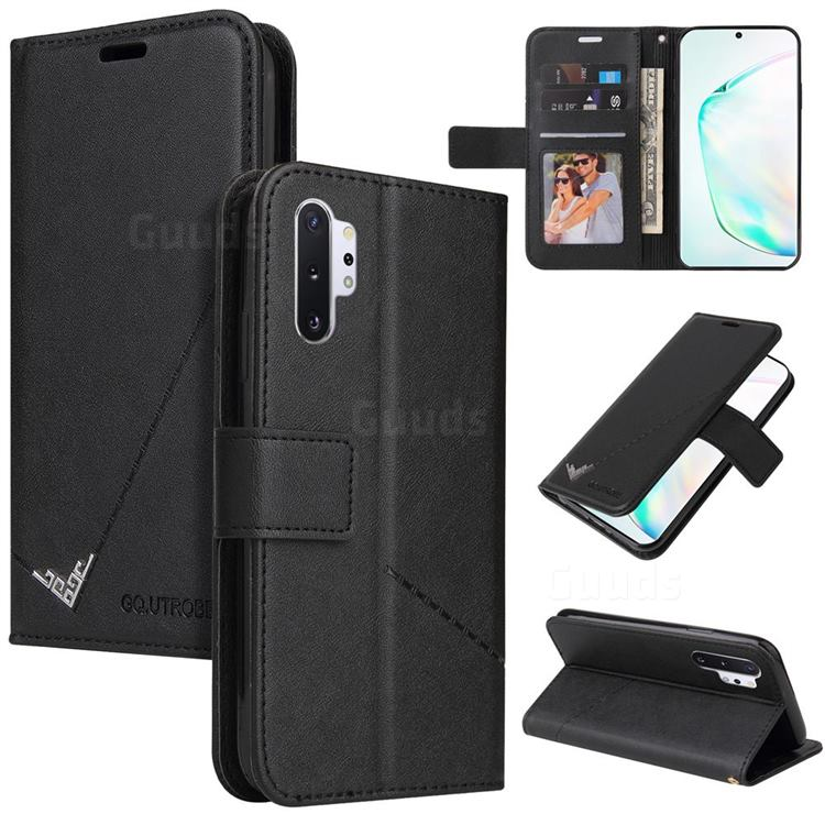 GQ.UTROBE Right Angle Silver Pendant Leather Wallet Phone Case for Samsung Galaxy Note 10 Pro (6.75 inch) / Note 10+ - Black