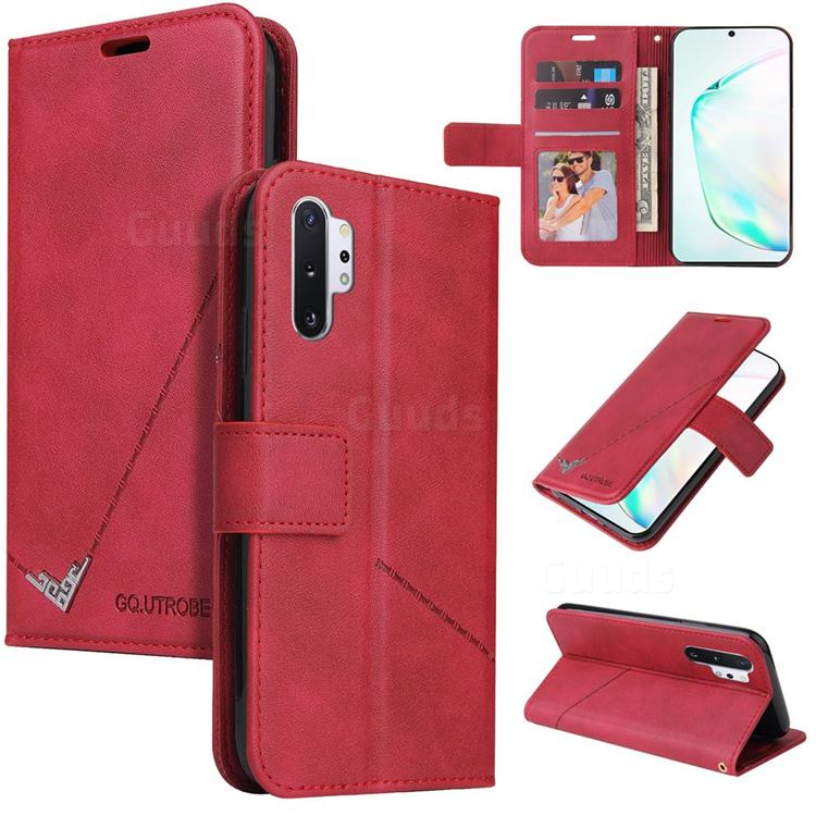 GQ.UTROBE Right Angle Silver Pendant Leather Wallet Phone Case for Samsung Galaxy Note 10 Pro (6.75 inch) / Note 10+ - Red