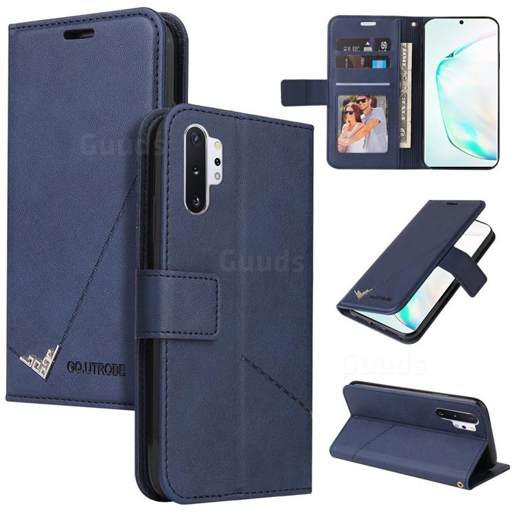 GQ.UTROBE Right Angle Silver Pendant Leather Wallet Phone Case for Samsung Galaxy Note 10 Pro (6.75 inch) / Note 10+ - Blue