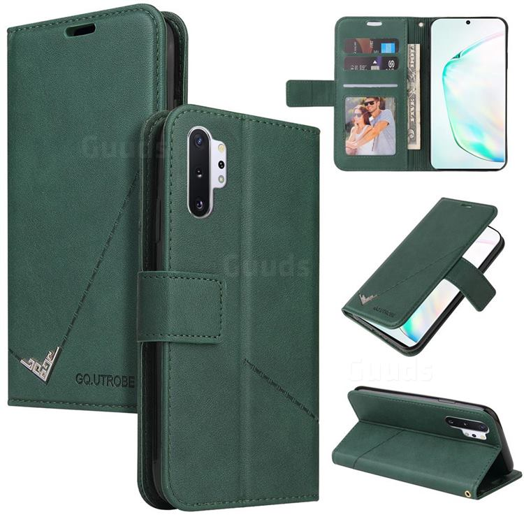 GQ.UTROBE Right Angle Silver Pendant Leather Wallet Phone Case for Samsung Galaxy Note 10 Pro (6.75 inch) / Note 10+ - Green