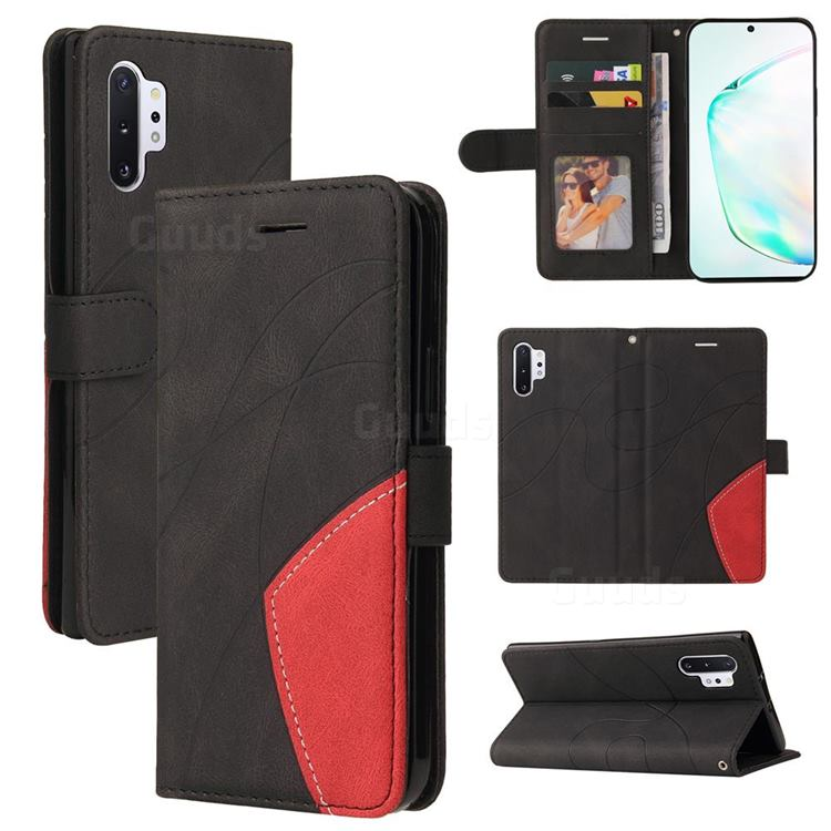 Luxury Two-color Stitching Leather Wallet Case Cover for Samsung Galaxy Note 10 Pro (6.75 inch) / Note 10+ - Black