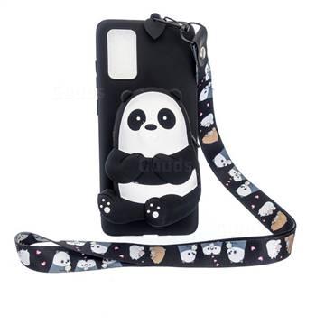 Cute Panda Neck Lanyard Zipper Wallet Silicone Case for Samsung Galaxy Note 20