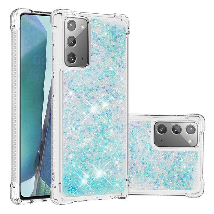Dynamic Liquid Glitter Sand Quicksand TPU Case for Samsung Galaxy Note 20 - Silver Blue Star