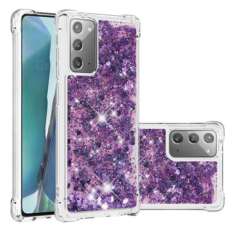 Dynamic Liquid Glitter Sand Quicksand Star TPU Case for Samsung Galaxy Note 20 - Purple