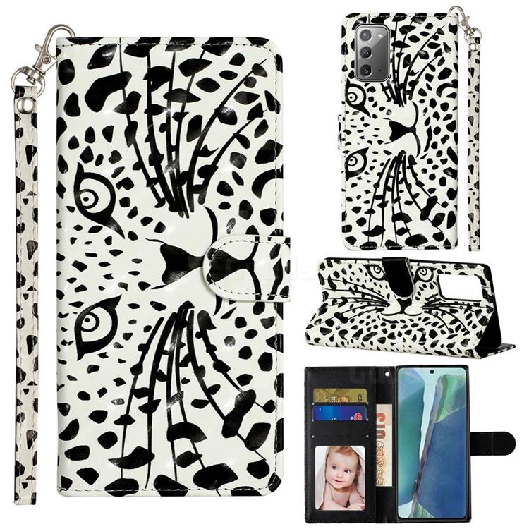 Leopard Panther 3D Leather Phone Holster Wallet Case for Samsung Galaxy Note 20