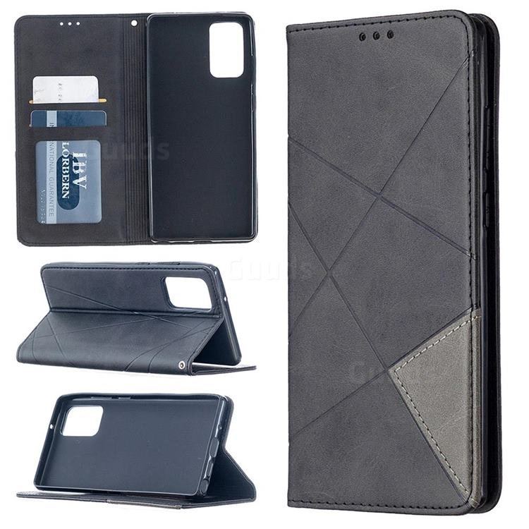 Prismatic Slim Magnetic Sucking Stitching Wallet Flip Cover for Samsung Galaxy Note 20 - Black