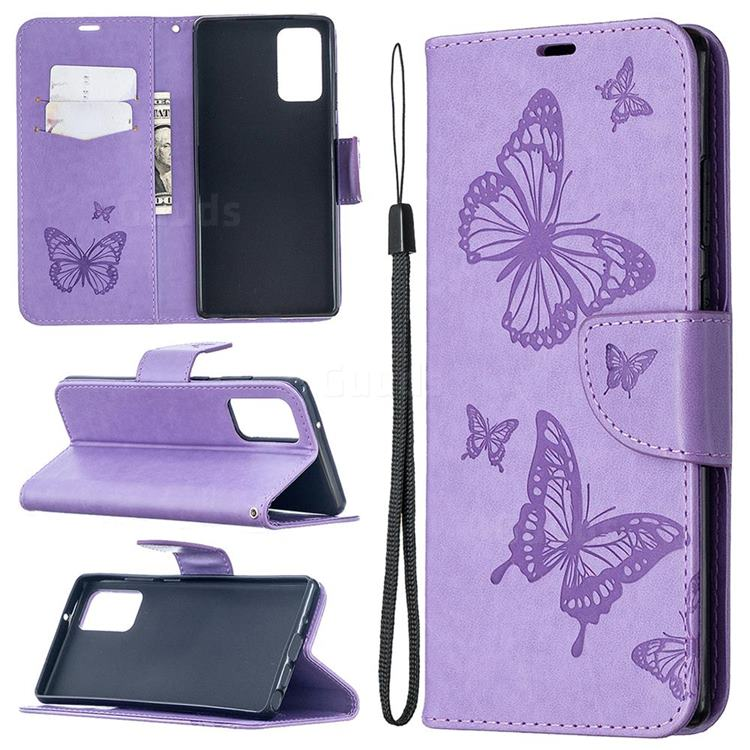 Embossing Double Butterfly Leather Wallet Case for Samsung Galaxy Note 20 - Purple