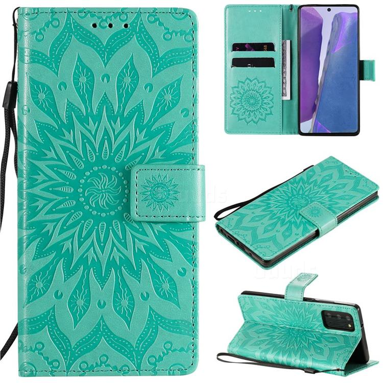 Embossing Sunflower Leather Wallet Case for Samsung Galaxy Note 20 - Green