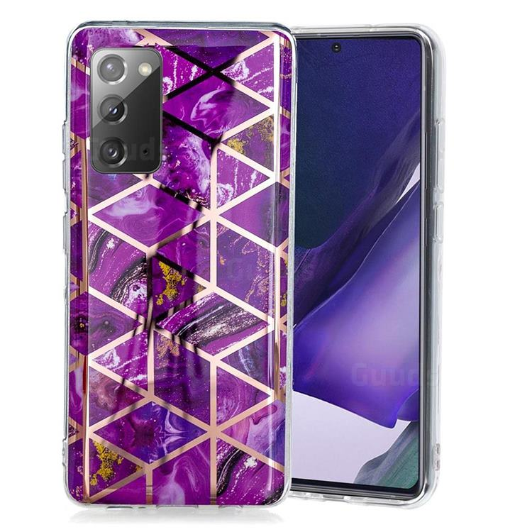 Purple Rhombus Galvanized Rose Gold Marble Phone Back Cover for Samsung Galaxy Note 20
