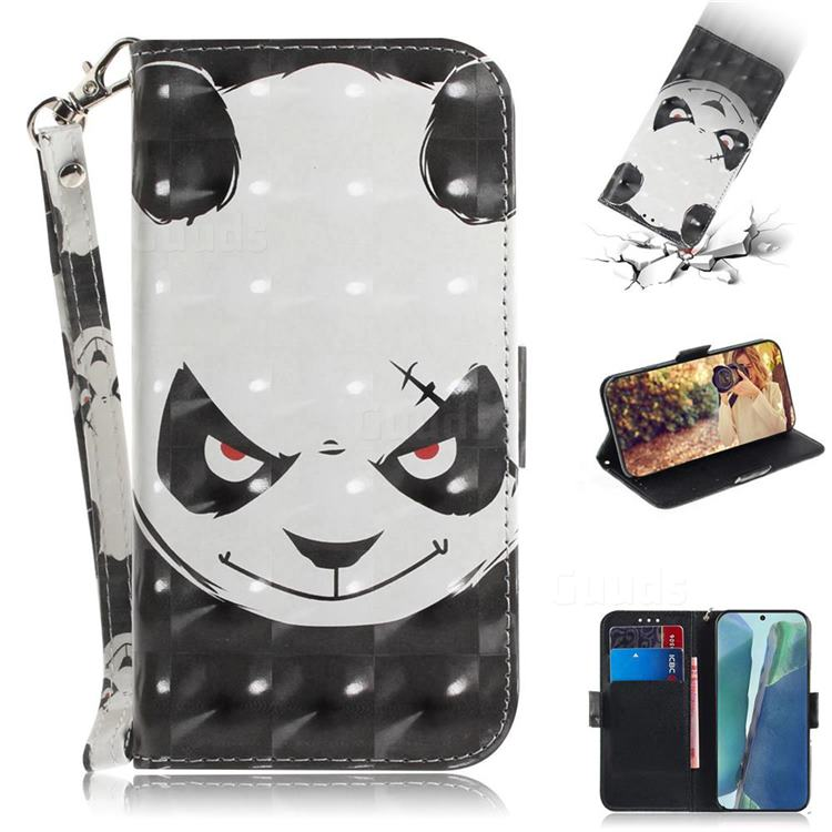 Angry Bear 3D Painted Leather Wallet Phone Case for Samsung Galaxy Note 20