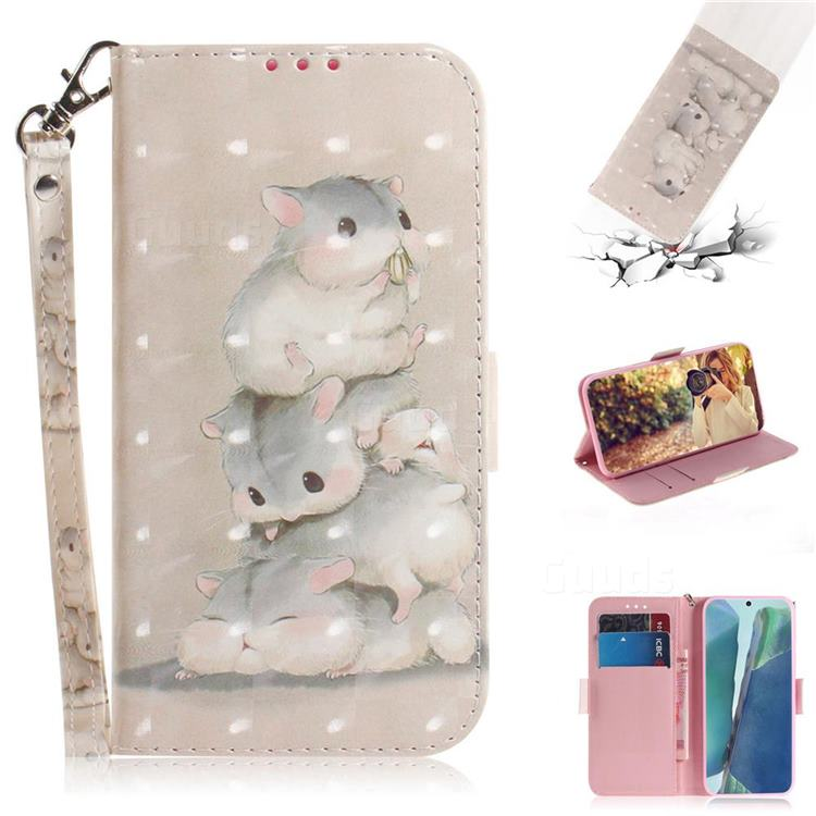 Three Squirrels 3D Painted Leather Wallet Phone Case for Samsung Galaxy Note 20