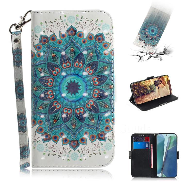 Peacock Mandala 3D Painted Leather Wallet Phone Case for Samsung Galaxy Note 20