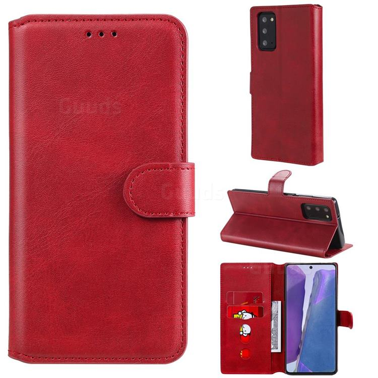Retro Calf Matte Leather Wallet Phone Case for Samsung Galaxy Note 20 - Red