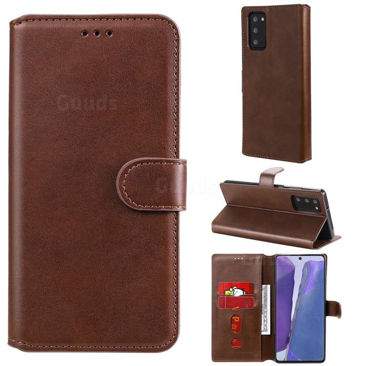 Retro Calf Matte Leather Wallet Phone Case for Samsung Galaxy Note 20 - Brown