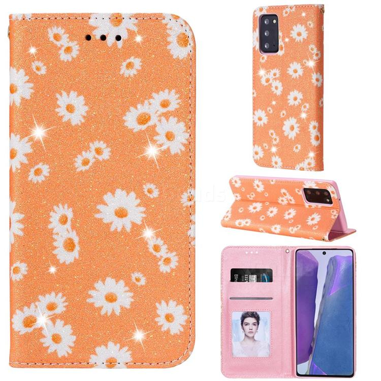 Ultra Slim Daisy Sparkle Glitter Powder Magnetic Leather Wallet Case for Samsung Galaxy Note 20 - Orange