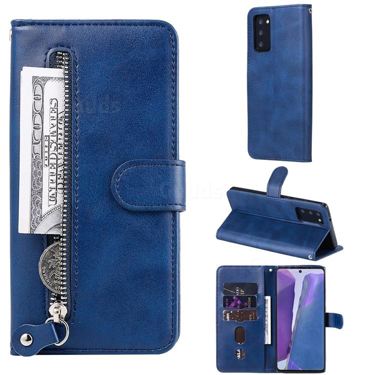 Retro Luxury Zipper Leather Phone Wallet Case for Samsung Galaxy Note 20 - Blue