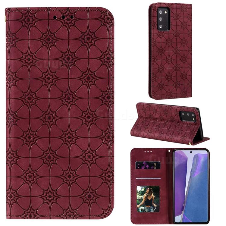 Intricate Embossing Four Leaf Clover Leather Wallet Case for Samsung Galaxy Note 20 - Claret