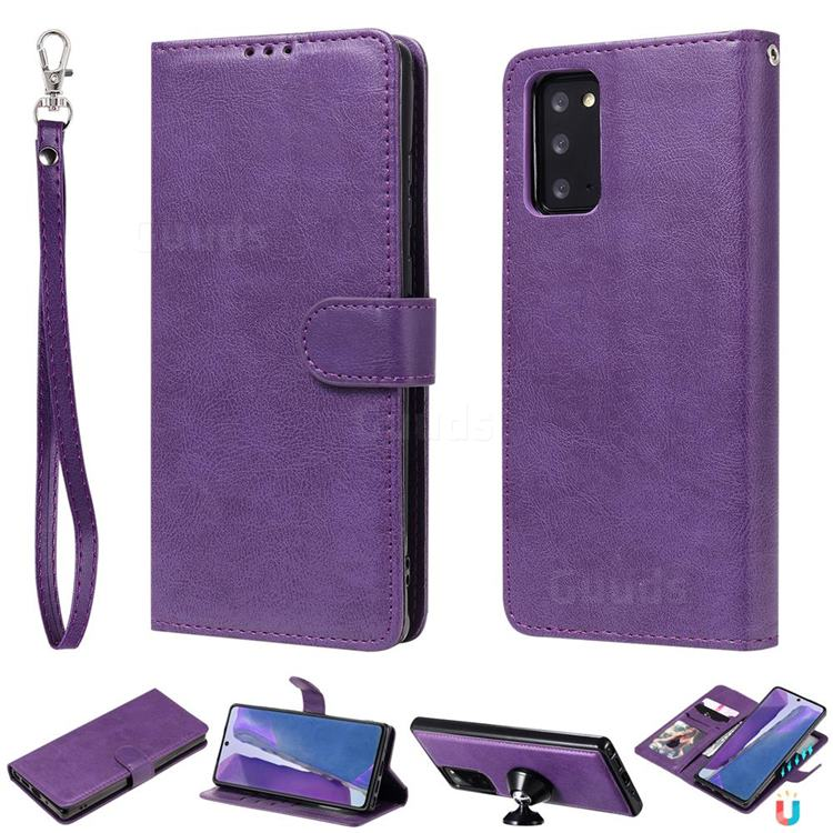 Retro Greek Detachable Magnetic PU Leather Wallet Phone Case for Samsung Galaxy Note 20 - Purple