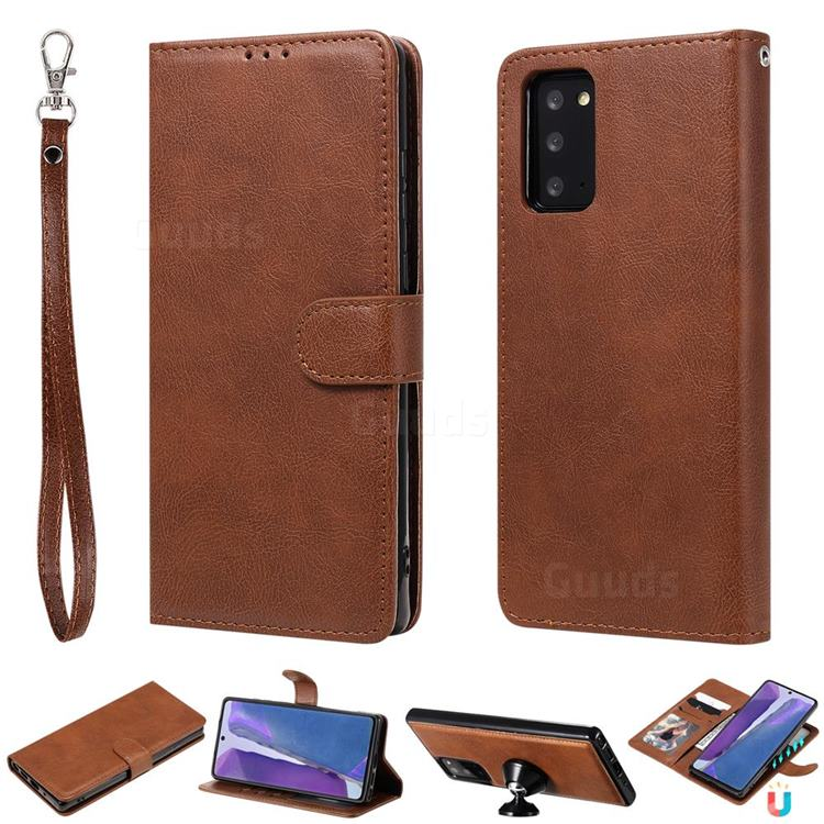 Retro Greek Detachable Magnetic PU Leather Wallet Phone Case for Samsung Galaxy Note 20 - Brown
