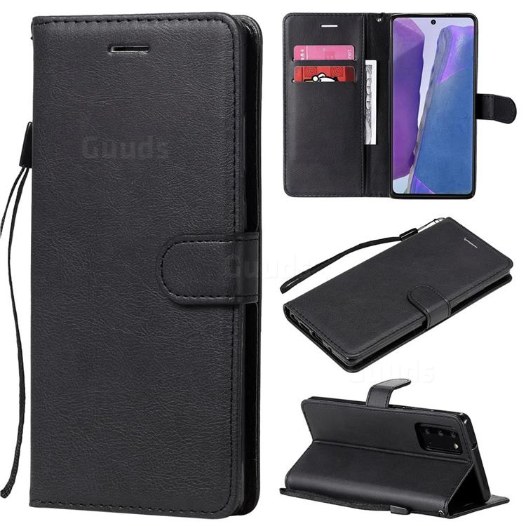 Retro Greek Classic Smooth PU Leather Wallet Phone Case for Samsung Galaxy Note 20 - Black