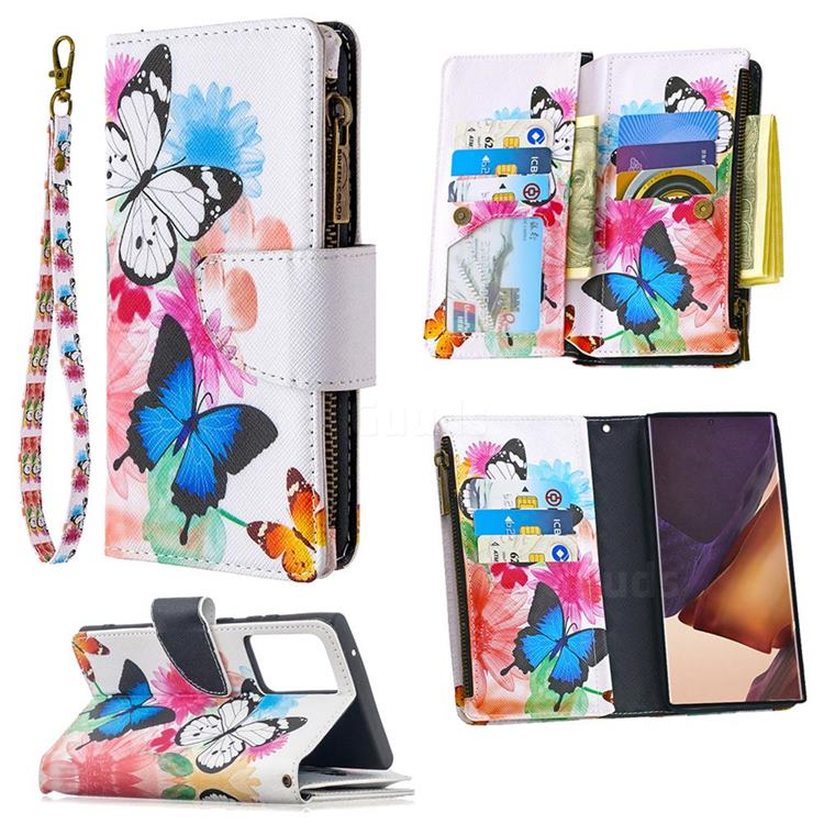 Vivid Flying Butterflies Binfen Color BF03 Retro Zipper Leather Wallet Phone Case for Samsung Galaxy Note 20