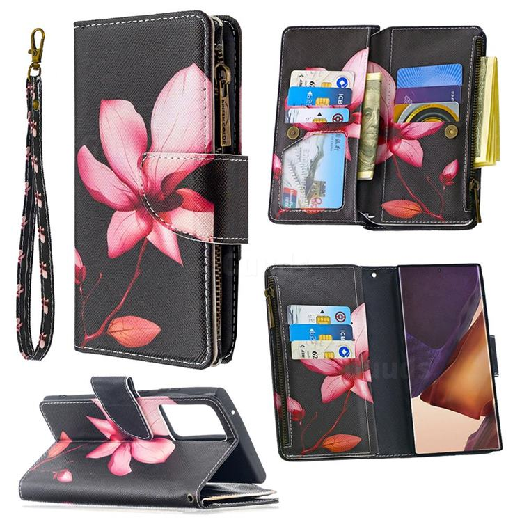 Lotus Flower Binfen Color BF03 Retro Zipper Leather Wallet Phone Case for Samsung Galaxy Note 20