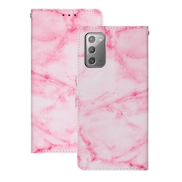 Pink Marble PU Leather Wallet Case for Samsung Galaxy Note 20