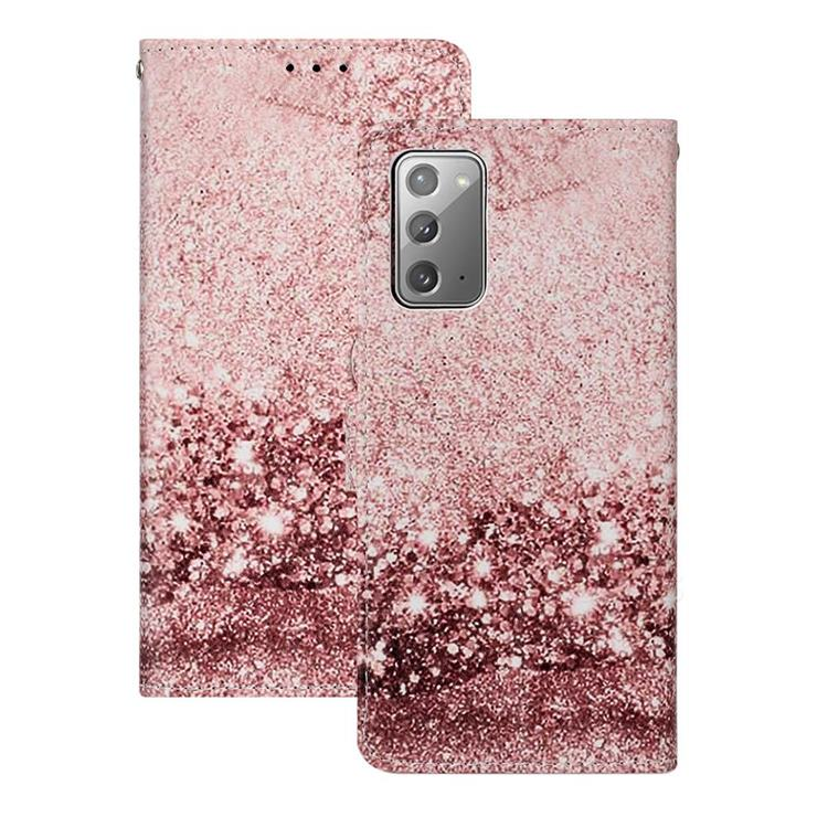 Glittering Rose Gold PU Leather Wallet Case for Samsung Galaxy Note 20