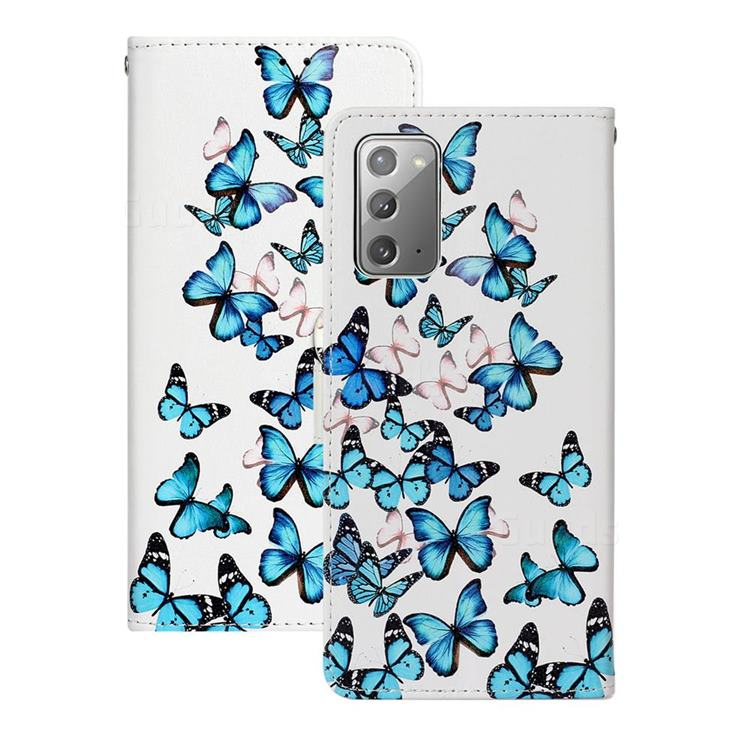 Blue Vivid Butterflies PU Leather Wallet Case for Samsung Galaxy Note 20