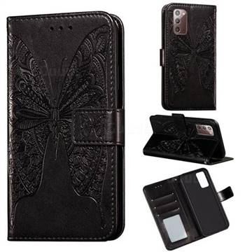 Intricate Embossing Vivid Butterfly Leather Wallet Case for Samsung Galaxy Note 20 - Black