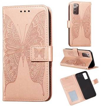 Intricate Embossing Vivid Butterfly Leather Wallet Case for Samsung Galaxy Note 20 - Rose Gold