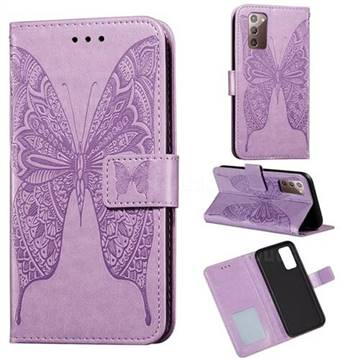 Intricate Embossing Vivid Butterfly Leather Wallet Case for Samsung Galaxy Note 20 - Purple