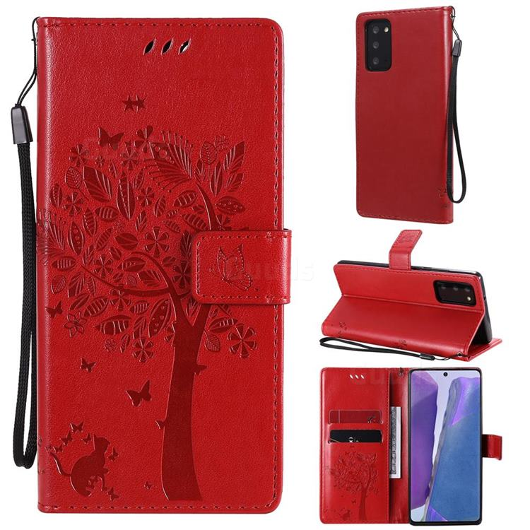 Embossing Butterfly Tree Leather Wallet Case for Samsung Galaxy Note 20 - Red