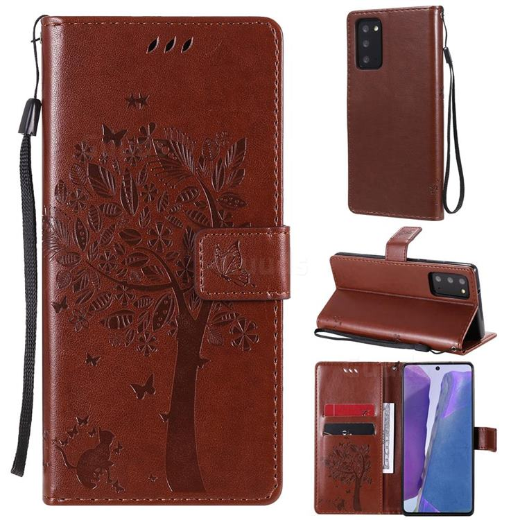 Embossing Butterfly Tree Leather Wallet Case for Samsung Galaxy Note 20 - Coffee