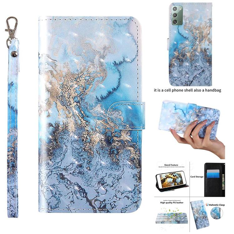 Milky Way Marble 3D Painted Leather Wallet Case for Samsung Galaxy Note 20