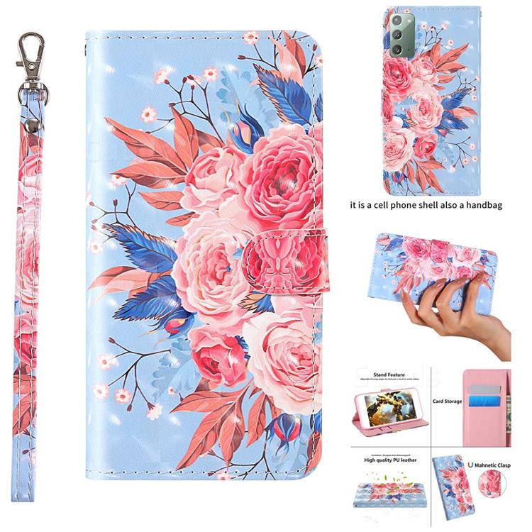 Rose Flower 3D Painted Leather Wallet Case for Samsung Galaxy Note 20