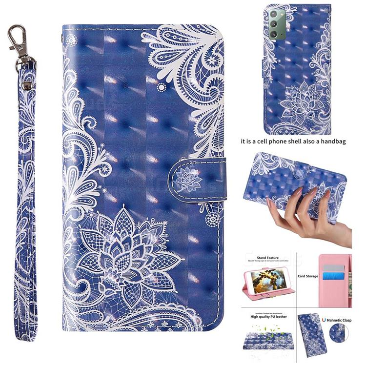 White Lace 3D Painted Leather Wallet Case for Samsung Galaxy Note 20