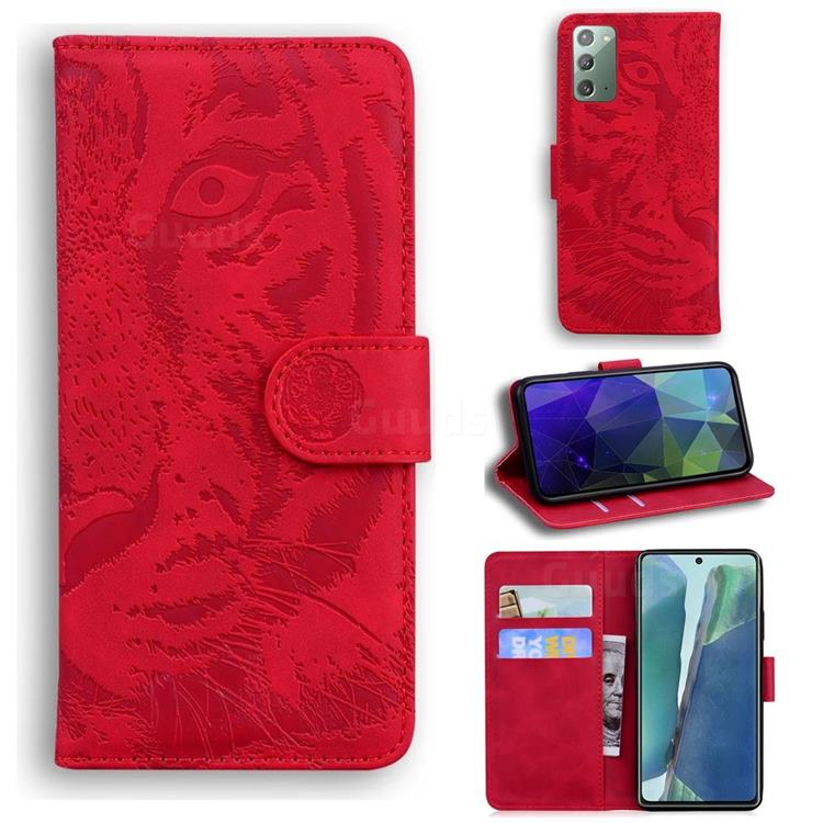 Intricate Embossing Tiger Face Leather Wallet Case for Samsung Galaxy Note 20 - Red