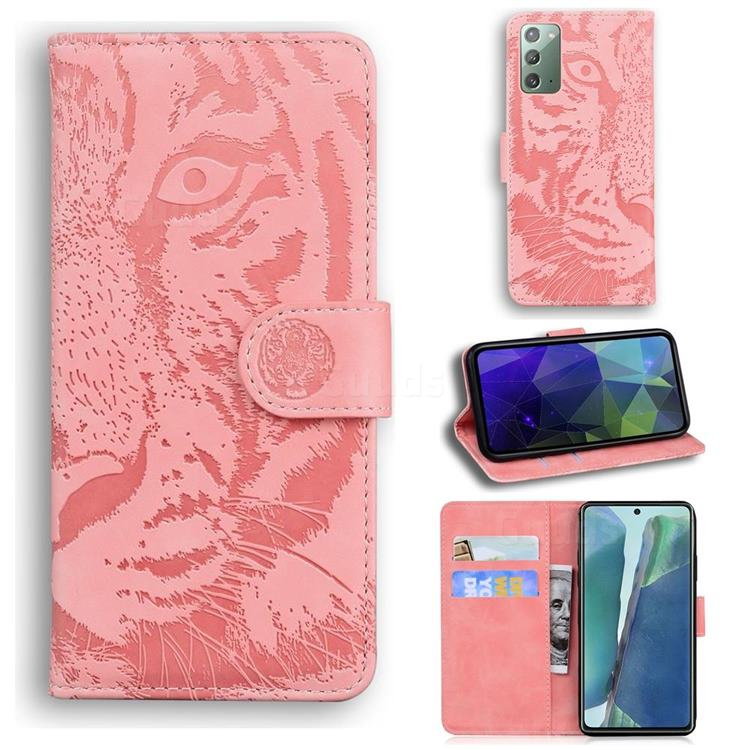 Intricate Embossing Tiger Face Leather Wallet Case for Samsung Galaxy Note 20 - Pink