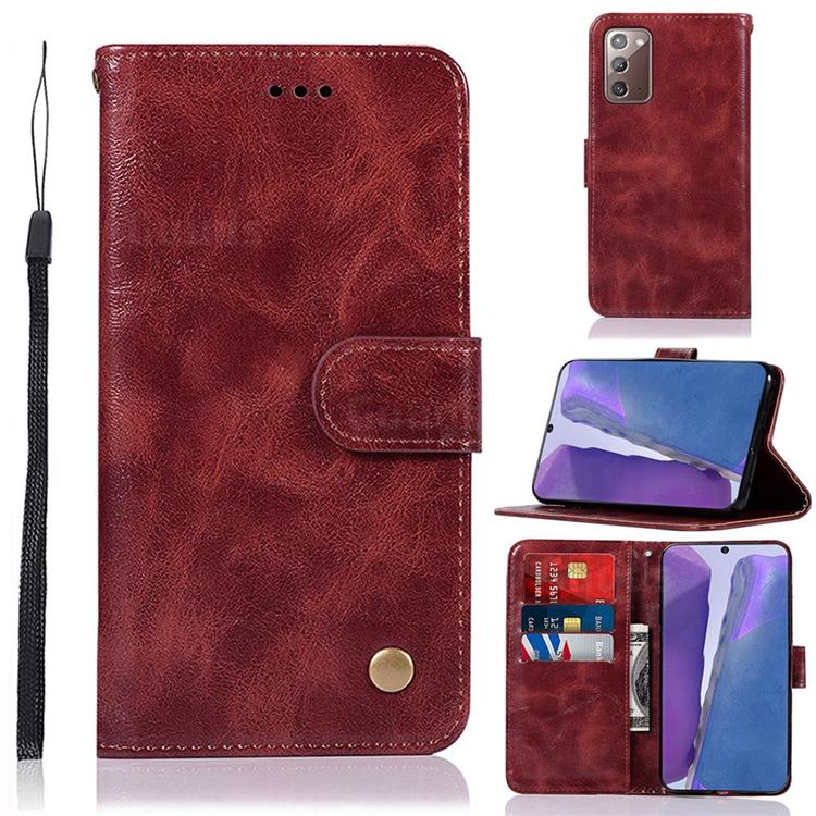 Luxury Retro Leather Wallet Case for Samsung Galaxy Note 20 - Wine Red