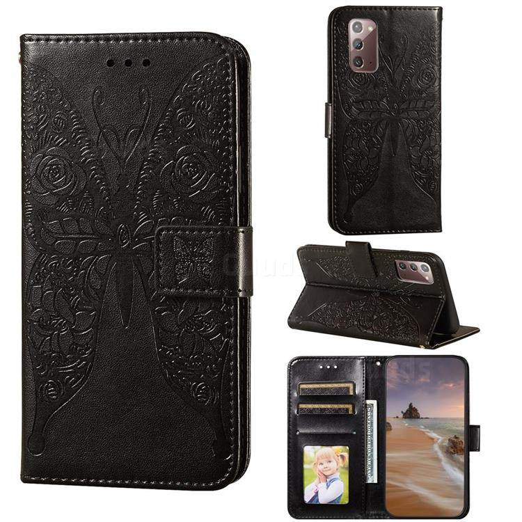 Intricate Embossing Rose Flower Butterfly Leather Wallet Case for Samsung Galaxy Note 20 - Black