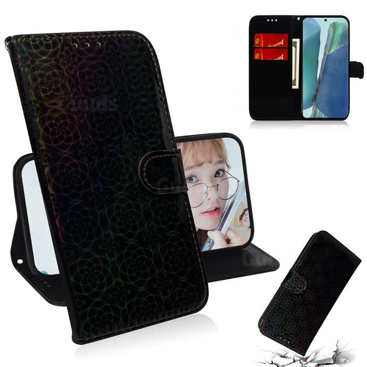 Laser Circle Shining Leather Wallet Phone Case for Samsung Galaxy Note 20 - Black